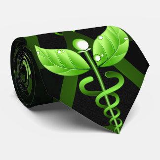 Cravates Emblème médical de médecine douce verte de caducée