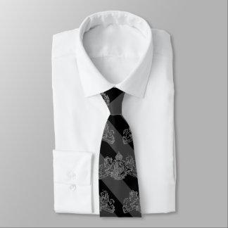 Cravates Emblème noir d'argent de rayure de smoking de
