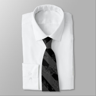 Cravates Emblème noir de lion de noir de rayure de smoking