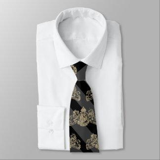 Cravates Emblème noir d'or blanc de rayure de smoking de