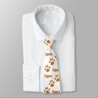 Cravates Empreintes de pattes de tigre avec le texte de