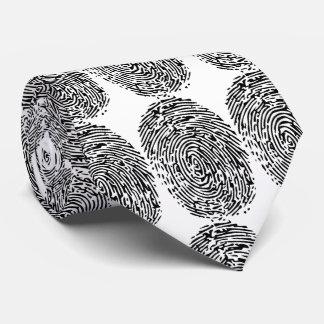 Cravates Empreintes digitales noires et blanches drôles