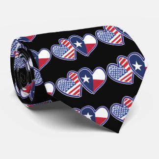 Cravates Etats-Unis-Texas-Drapeau-Coeur