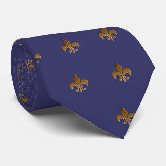 Cravates Fleur de lis/cravate bleu d'indigo