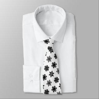 Cravates Flocons de neige d'Ikat - blanc et noir
