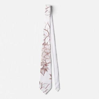 Cravates Illustrations florales d'or rose Girly moderne