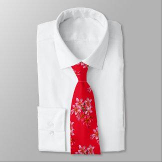 Cravates Impression florale hawaïenne de rouge de Plumeria