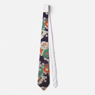 Cravates Japanese Botanical pattern tie