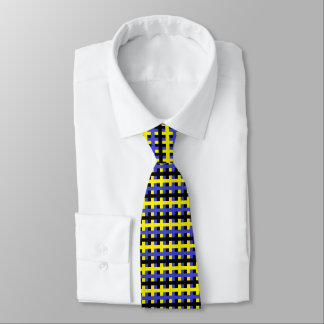 Cravates Jaune abstrait, bleu et noir