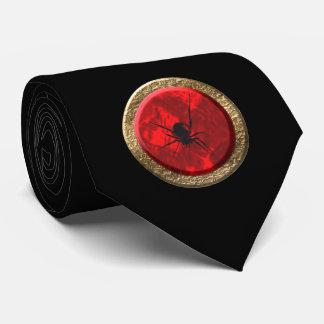 Cravates L'araignée rouge de rouge et d'or Jewel l'art de