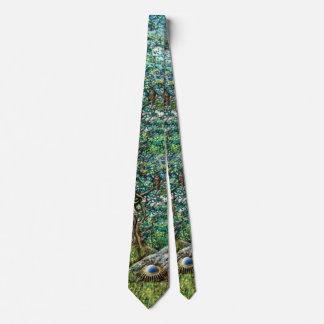 Cravates L'AURORE/feuille vert MAGIQUE d'ARBRE ET de HIBOU
