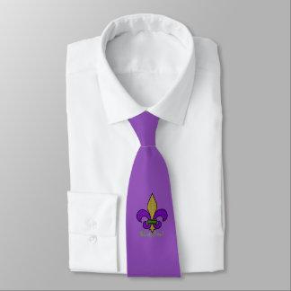 Cravates Mardi gras coloré Fleur De Lis sur le pourpre