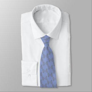 Cravates Mariage fleuri bleu et argenté