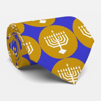 Cravates Menorah blanc sur des cercles d'or