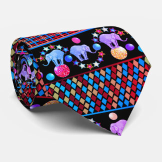 Cravates Motif de rayures de diamants de cirque d'éléphant