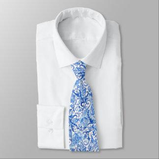 Cravates Motif floral blanc bleu magnifique de Paisley