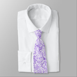 Cravates Motif floral blanc violet assez pourpre de Paisley