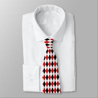 Cravates Motif noir blanc rouge de diamant de harlequin