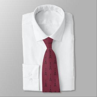 Cravates Motif noir de Tour Eiffel sur le rouge de