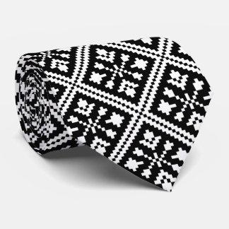 Cravates Motif noir et blanc de flocons de neige de Noël