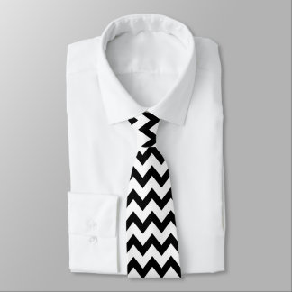 Cravates Motif noir et blanc simple de Chevron