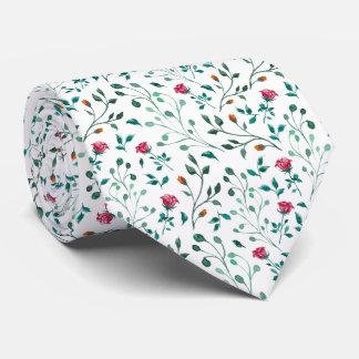 Cravates Motif rose de floraison d'aquarelle