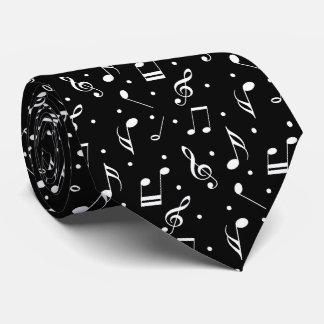 Cravates Musical noir de motif de musique et blanc chic