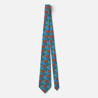 Cravates Nature artistique colorée de tortue d'océan d'art