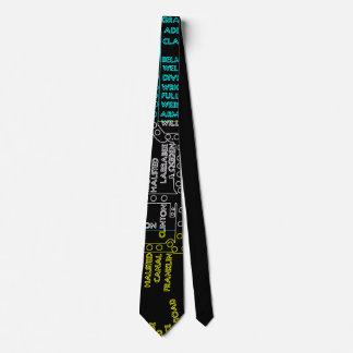 Cravates NÉON vintage d'itinéraire de carte de système de