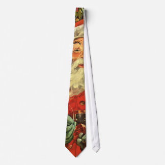 Cravates Noël vintage, le père noël dans Sleigh avec des