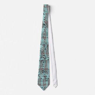 Cravates Notes bleues de trompette et de musique