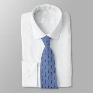 Cravates Partout motif de Tour Eiffel sur le bleu d'océan