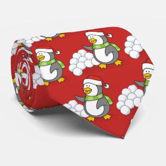 Cravates Pingouin de Noël avec l'ondulation de boules de