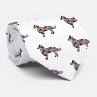 Cravates Plaid géométrique de silhouette de border collie