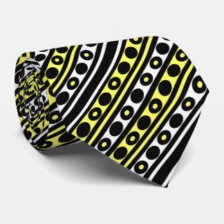 Cravates Pois et rayures noirs, jaunes et blancs