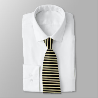 Cravates Rayures beiges et noires épaisses et minces