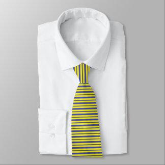 Cravates Rayures bleues et jaunes épaisses et minces