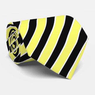 Cravates Rayures noires, jaunes et blanches