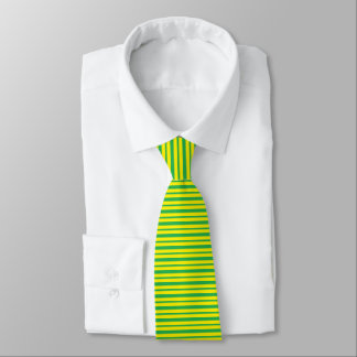 Cravates Rayures vertes et jaunes épaisses et minces