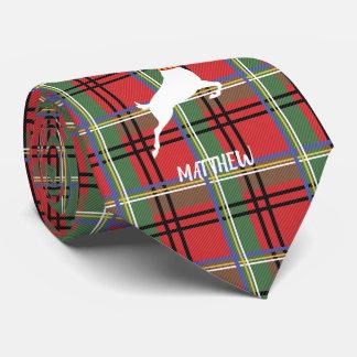 Cravates Renne sur le plaid rouge et vert de Noël de tartan