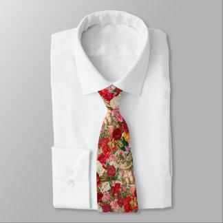 Cravates Rétro mesquin victorien d'ange et d'album à roses