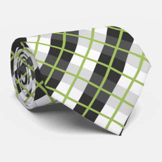 Cravates Rétro motif noir et blanc vert de plaid