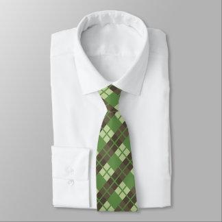 Cravates Rétro vert et motif de plaid de Brown