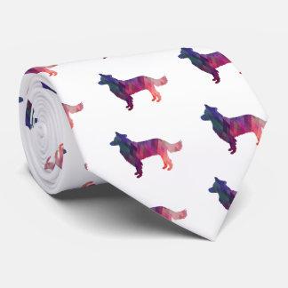 Cravates Rose géométrique de silhouette de border collie