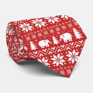 Cravates Rouge mignon de motif de Noël d'éléphants
