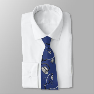 Cravates Stéthoscopes drôles pour des médecins sur le bleu