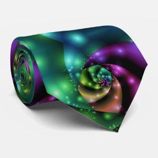 Cravates Tuile rose cosmique de fractale