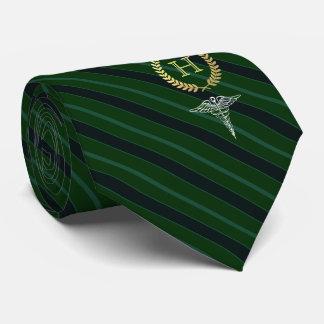 Cravates Vert de monogramme encadré par professionnel