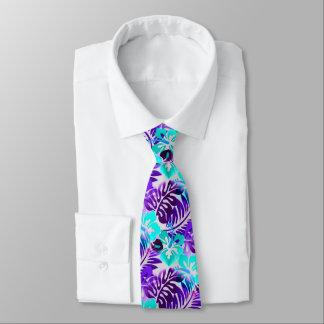 Cravates Violette bleue de motif fleurie par Hawaïen