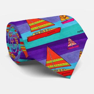 Cravates Voilier artistique coloré Boho d'océan d'aquarelle